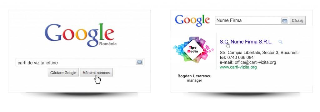 Modele carti de vizita google