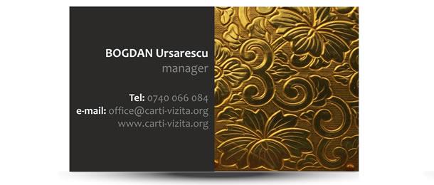 Carte vizita imobiliare auriu