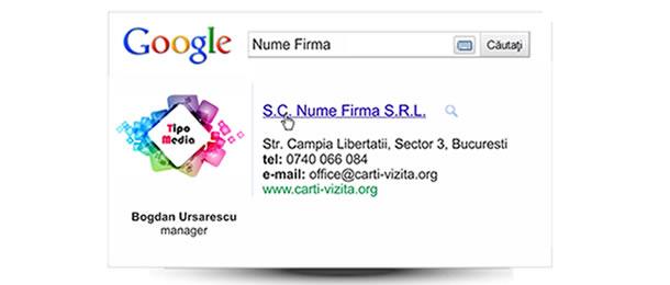 Carte de vizita google