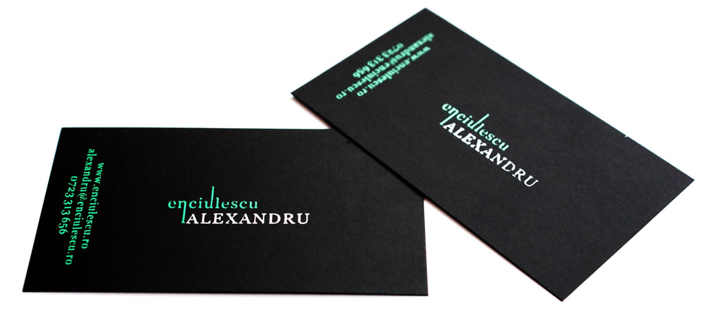 carte de vizita carton negru serigrafie