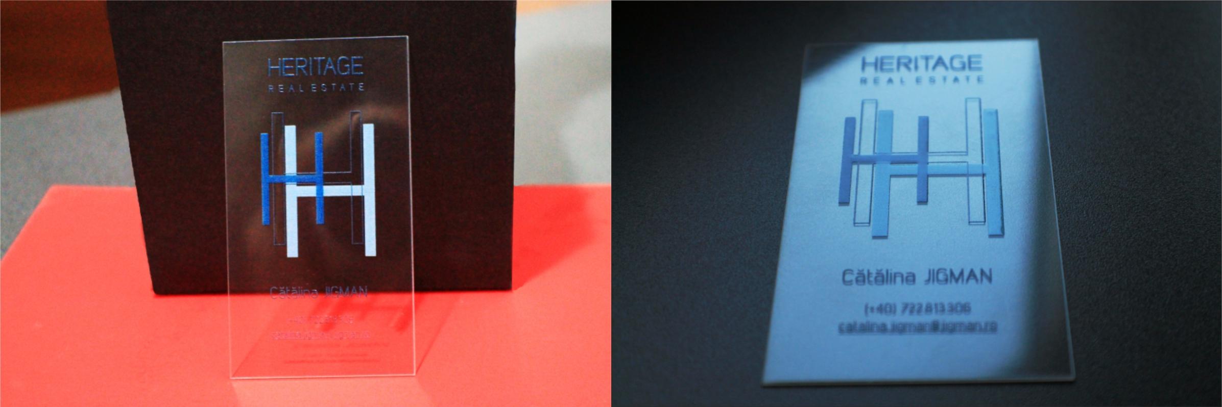 carti de vizita transparente - print in relief